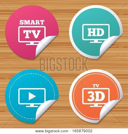 Round stickers or website banners. Smart TV mode icon. Widescreen symbol. High-definition resolution. 3D Television sign. Circle badges with bended corner. Vector