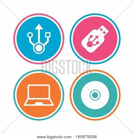Usb flash drive icons. Notebook or Laptop pc symbols. CD or DVD sign. Compact disc. Colored circle buttons. Vector