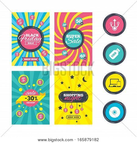 Sale website banner templates. Usb flash drive icons. Notebook or Laptop pc symbols. Smartphone device. CD or DVD sign. Compact disc. Ads promotional material. Vector