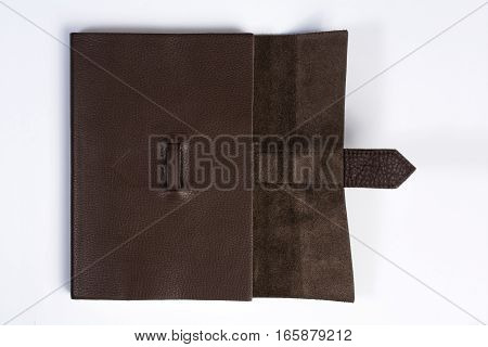 Bound Leather Journal Book Half Opened Isolated On White Top View