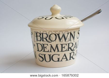Classic Sugar Bowl with Spoon Front View