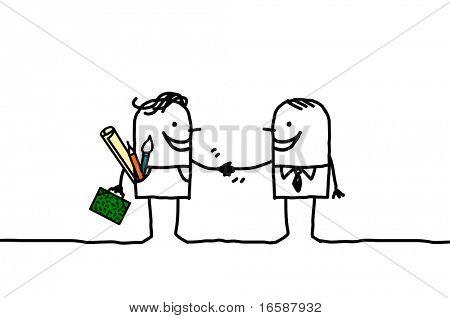 artist & businessman handshake