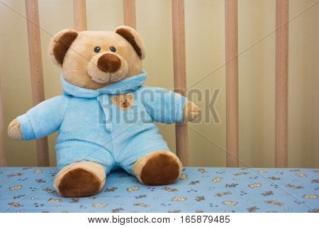 Cute Teddy Bear Stuffed Animal In A Baby Crib