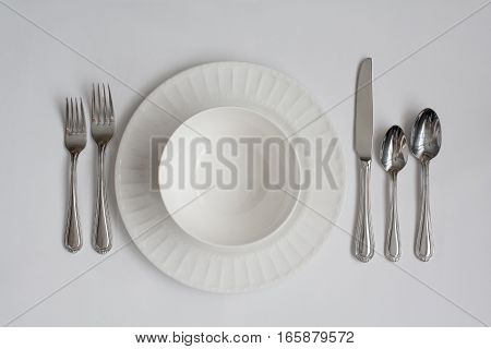 Formal Dinner Place Setting Utensils Including Bowl