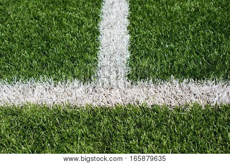 Green Soccer Field Turf With White Painted Lines