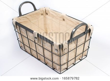 Metal Wire Basket With Cloth Interior And Handles Perspective View