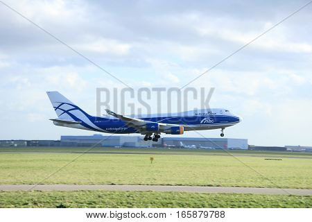 Schiphol Amsterdam The Netherlands march 31 2015: VQ-BHE AirBridgeCargo Boeing 747-400F approaching on runway 09/27 Buitenveldert