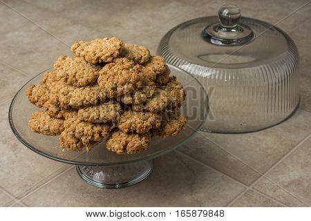 Pile Of Oatmeal Cookies On Dish With Lid Front View