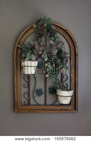 Potted Vine Flowers in Window Frame Decor Front View