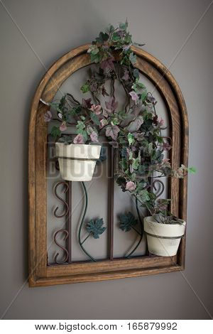 Potted Vine Flowers in Window Frame Decor Perspective View
