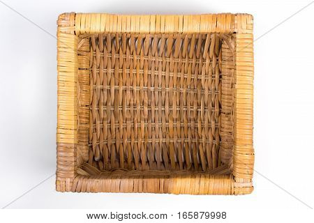 Square Wicker Basket Isolated On White Top View