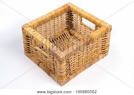 Square Wicker Basket Isolated On White Perspective Angled View