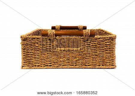 Woven rope basket with handles front view
