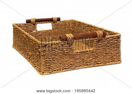 Woven rope basket with handles three quarter view
