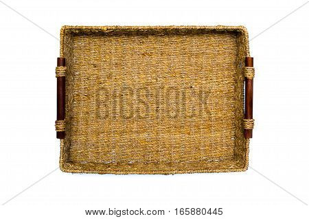 Woven rope basket with handles top view