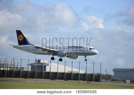 Schiphol Amsterdam The Netherlands april 11 2015: D-AIZZ Lufthansa Airbus A320-200 approaching runway 09/27 Buitenveldert