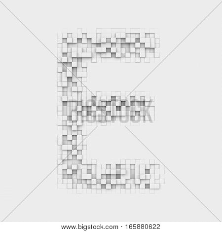 3d rendering of large letter E made up of white square uneven tiles on white background. Letters and numbers. Symbolism. Alphabet.
