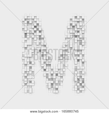 3d rendering of large letter M made up of white square uneven tiles on white background. Letters and numbers. Symbolism. Alphabet.