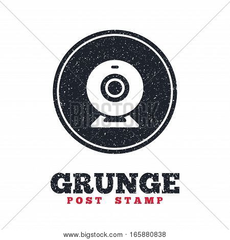 Grunge post stamp. Circle banner or label. Webcam sign icon. Web video chat symbol. Camera chat. Dirty textured web button. Vector
