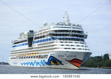 June 22nd 2014. Velsen; the Netherlands: Aida Stella on North Sea Canal on it's way to the Amsterdam Cruise Terminal