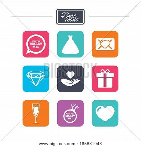 Wedding, engagement icons. Love oath letter, gift box and brilliant signs. Dress, heart and champagne glass symbols. Colorful flat square buttons with icons. Vector