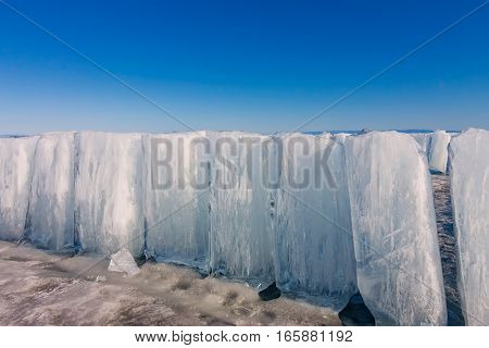Ice Blocks On Blue Ice, Olkhon Island, Lake Baikal