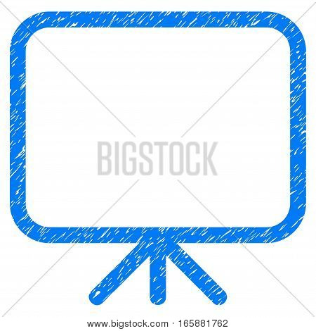 Presentation Screen grainy textured icon for overlay watermark stamps. Flat symbol with dirty texture. Dotted vector blue ink rubber seal stamp with grunge design on a white background.