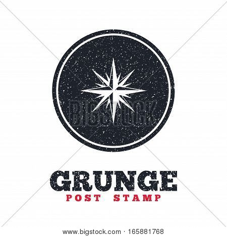 Grunge post stamp. Circle banner or label. Compass sign icon. Windrose navigation symbol. Dirty textured web button. Vector