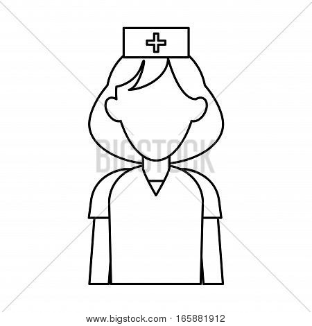 nurse uniform hat cross attention healthcare outline vector illustration eps 10