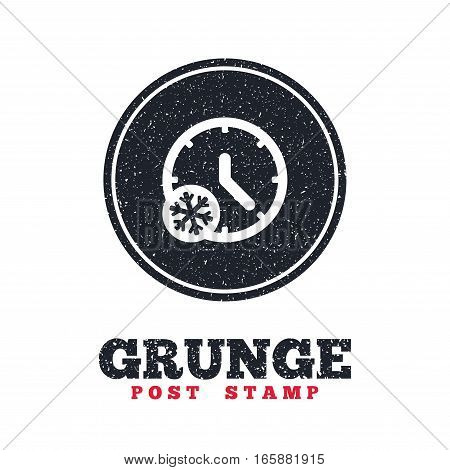 Grunge post stamp. Circle banner or label. Winter time icon. Snowy cold day sign. Daylight saving time with snowflake symbol. Dirty textured web button. Vector