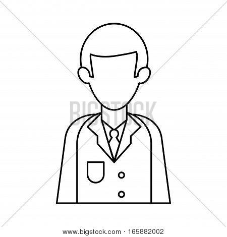 character doctor uniform health outline vector illustration eps 10