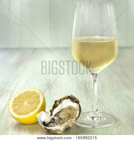 A square photo of freshly opened oysters with a slice of lemon and a glass of white wine, on a blurred wooden background texture with copyspace