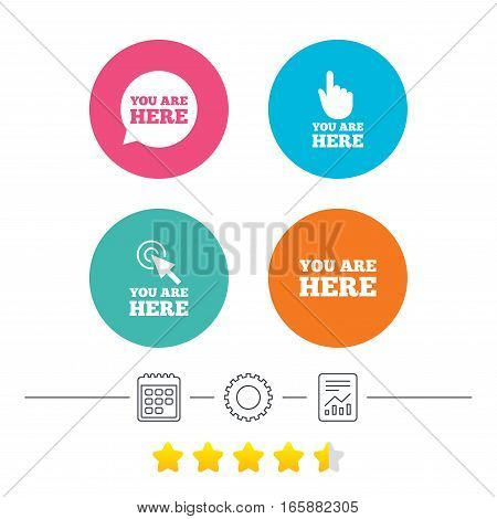 You are here icons. Info speech bubble symbol. Map pointer with your location sign. Hand cursor. Calendar, cogwheel and report linear icons. Star vote ranking. Vector