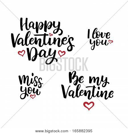 Set Of Hand Drawn Vector  Lettering Quotes For Valentine's Day.