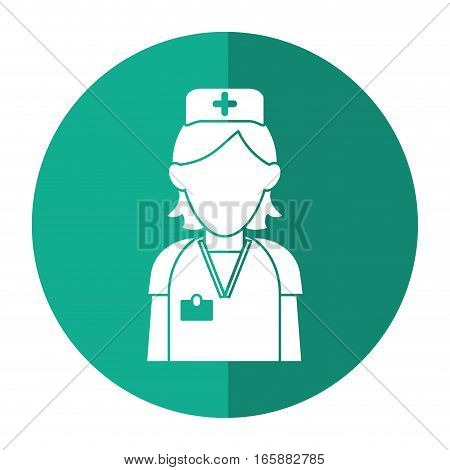 nurse staff care clinic uniform hat cross with shadow vector illustration