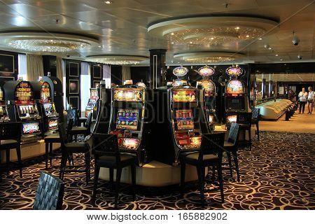Amsterdam the Netherlands august 2nd 2014 Costa Neo Romantica interior of casino area