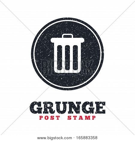 Grunge post stamp. Circle banner or label. Recycle bin sign icon. Bin symbol. Dirty textured web button. Vector