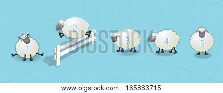 sheep queuing, counting sheep to fall asleep, vector illustration