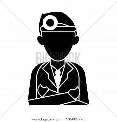 silhouette doctor crossed arms wearing head mirror medical consultation vector illustration