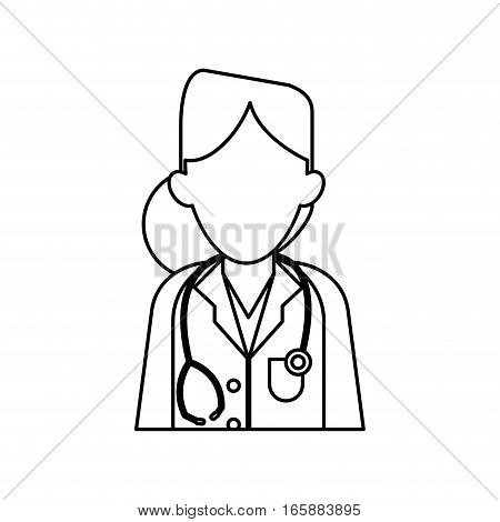 woman doctor therapist stethoscope diagnosis outline vector illustration eps 10