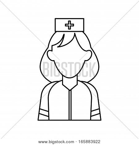 woman paramedic help urgency wearing uniform stethoscope outline vector illustration