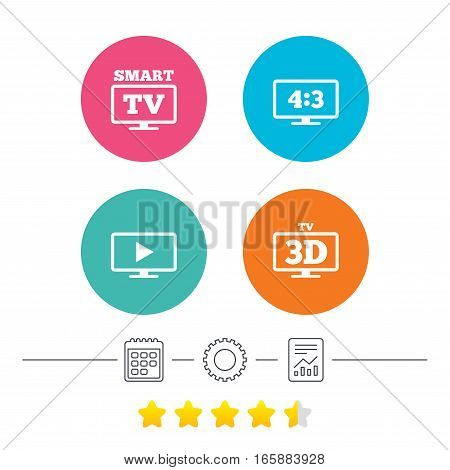 Smart TV mode icon. Aspect ratio 4:3 widescreen symbol. 3D Television sign. Calendar, cogwheel and report linear icons. Star vote ranking. Vector