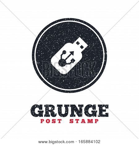 Grunge post stamp. Circle banner or label. Usb sign icon. Usb flash drive stick symbol. Dirty textured web button. Vector