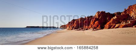 Cape Leveque in North Western Australia is a stunning landscape of red cliffs against the blue ocean. Broome, Western Australia, Australia.