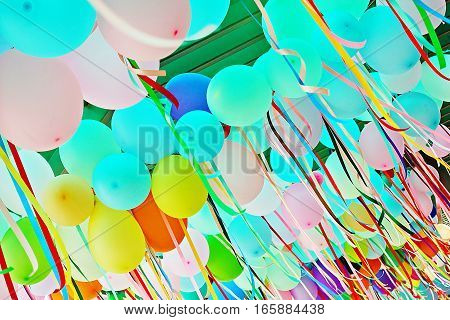 Multicolored balloons background balloon carnival entertainment  holiday