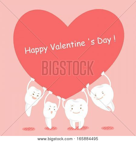 cute cartoon happy tooth take red heart