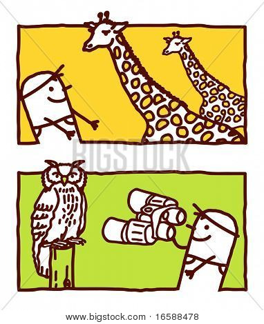 man with giraffes & owl