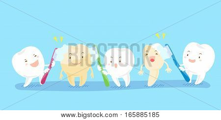 cartoon teeth holding toothbrush and smile happily