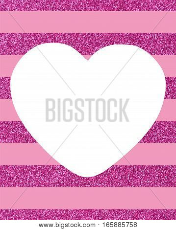 A pattern of  pink lines on a white background with a large white heart Background of horizontal glittery pink stripes with a big white heart in the middle with copy space The Theme of love and Valentines Day Idea for greeting card Rectangular orientation