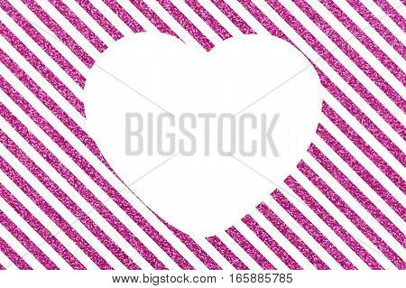 A pattern of slanted pink lines on a white background with a large white heart Slanted glittery lines with big white heart The Theme of love and Valentines Day Idea for greeting card Rectangular orientation. Diagonal stripes of glitter. Copy space